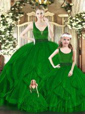 Green Ball Gowns Beading and Ruffles Quinceanera Gowns Zipper Organza Sleeveless Floor Length