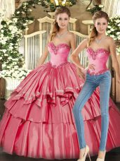 Beading and Ruffled Layers Vestidos de Quinceanera Watermelon Red Lace Up Sleeveless Floor Length