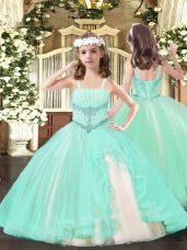 Attractive Tulle Sleeveless Floor Length Pageant Dress for Teens and Beading