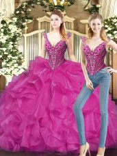 Most Popular Fuchsia V-neck Lace Up Ruffles Ball Gown Prom Dress Sleeveless