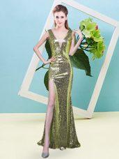 Mermaid Dress for Prom Yellow Green V-neck Sequined Sleeveless Floor Length Zipper