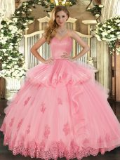 Watermelon Red Sweetheart Neckline Beading and Appliques and Ruffles Quinceanera Gowns Sleeveless Lace Up