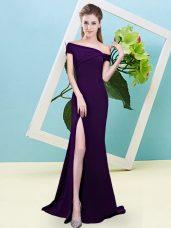 Floor Length Dark Purple Wedding Guest Dresses Off The Shoulder Sleeveless Zipper