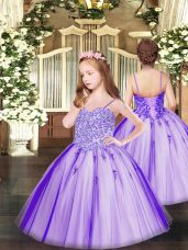 Excellent Spaghetti Straps Sleeveless Tulle Pageant Gowns For Girls Appliques Lace Up