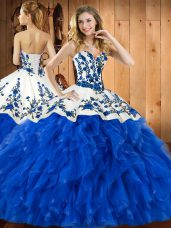 Ball Gowns Sweet 16 Quinceanera Dress Blue Sweetheart Tulle Sleeveless Floor Length Lace Up
