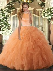 Orange Ball Gown Prom Dress Military Ball and Sweet 16 and Quinceanera with Beading and Ruffles Halter Top Sleeveless Backless