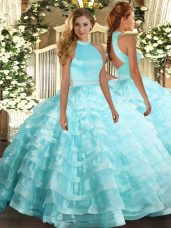 Trendy Aqua Blue Backless Halter Top Beading and Ruffled Layers 15th Birthday Dress Organza Sleeveless