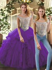 Excellent Purple Organza Lace Up Bateau Sleeveless Floor Length 15th Birthday Dress Beading and Ruffles