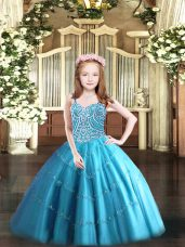 Hot Sale Sleeveless Tulle Floor Length Lace Up Girls Pageant Dresses in Baby Blue with Beading