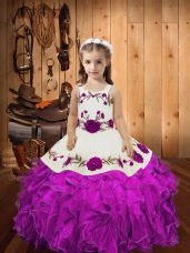 Hot Sale Organza Sleeveless Floor Length Juniors Party Dress and Embroidery and Ruffles and Hand Made Flower