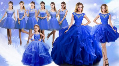 Organza Scoop Sleeveless Lace Up Beading and Ruffles Quinceanera Dress in Blue
