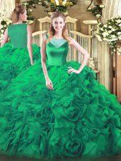 Fine Turquoise Sleeveless Beading Floor Length Ball Gown Prom Dress