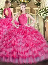Modern Hot Pink Ball Gowns Scoop Sleeveless Organza Floor Length Zipper Lace and Ruffled Layers Quinceanera Gown