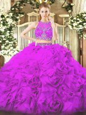 Exceptional Lilac Scoop Neckline Beading Quinceanera Dress Sleeveless Zipper