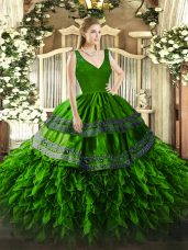 Adorable Sleeveless Floor Length Beading and Lace and Ruffles Backless 15 Quinceanera Dress with Green