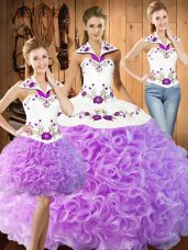 Amazing Floor Length Three Pieces Sleeveless Lilac Sweet 16 Dress Lace Up