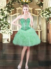 Customized Sleeveless Organza Mini Length Lace Up Prom Gown in Apple Green with Beading and Ruffles and Pick Ups