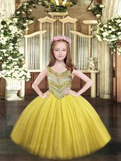 Ball Gowns Custom Made Pageant Dress Gold Scoop Tulle Sleeveless Floor Length Lace Up