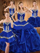 Sexy Royal Blue Ball Gown Prom Dress Military Ball and Sweet 16 and Quinceanera with Embroidery and Ruffles Sweetheart Sleeveless Lace Up