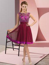 Custom Fit Knee Length Wine Red Prom Dress Chiffon Sleeveless Appliques