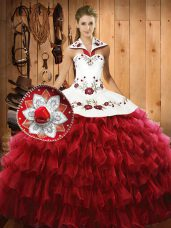 Ball Gowns Quinceanera Gown Wine Red Halter Top Organza Sleeveless Floor Length Lace Up