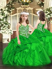 Green Organza Lace Up Pageant Dress for Womens Sleeveless Floor Length Beading and Ruffles