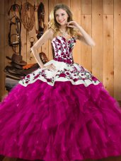 Floor Length Fuchsia Quince Ball Gowns Sweetheart Sleeveless Lace Up