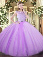 Lavender Sleeveless Beading Floor Length 15 Quinceanera Dress