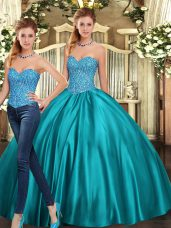 Cute Teal Lace Up Sweetheart Beading Ball Gown Prom Dress Tulle Sleeveless