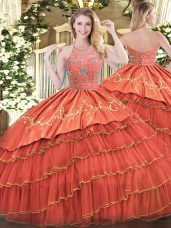 High Class Rust Red Ball Gowns Beading and Embroidery and Ruffles Quinceanera Dresses Zipper Satin and Organza Sleeveless Floor Length