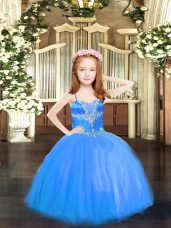 Spaghetti Straps Sleeveless Lace Up Pageant Gowns For Girls Blue Tulle