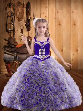 Floor Length Multi-color Party Dress for Girls Fabric With Rolling Flowers Sleeveless Embroidery and Ruffles