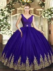 Floor Length Purple Quince Ball Gowns V-neck Sleeveless Backless
