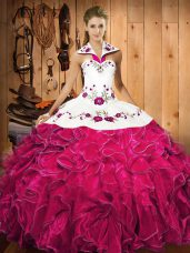 Halter Top Sleeveless Satin and Organza Quinceanera Dresses Embroidery and Ruffles Lace Up