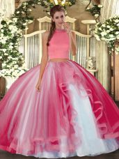 Coral Red Sleeveless Tulle Backless Ball Gown Prom Dress for Military Ball and Sweet 16 and Quinceanera