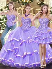 Fitting Lavender Zipper Quinceanera Dress Appliques and Ruffled Layers Sleeveless Floor Length