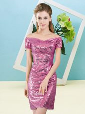 Fuchsia Column/Sheath Off The Shoulder Short Sleeves Sequined Mini Length Zipper Sequins Party Dress for Girls
