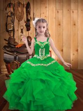 Fancy Embroidery and Ruffles Girls Pageant Dresses Green Lace Up Sleeveless Floor Length