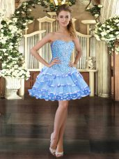 Sophisticated Sleeveless Organza Mini Length Lace Up Prom Dress in Light Blue with Beading and Ruffled Layers
