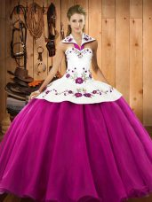Satin and Tulle Sleeveless Floor Length Sweet 16 Dresses and Embroidery