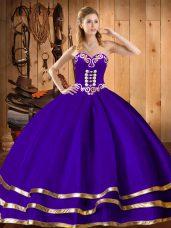 Custom Fit Sweetheart Sleeveless 15th Birthday Dress Floor Length Embroidery Purple Organza