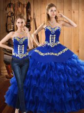 Customized Blue Ball Gowns Embroidery and Ruffled Layers Sweet 16 Quinceanera Dress Lace Up Tulle Sleeveless Floor Length