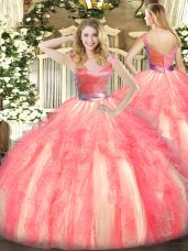 Customized Watermelon Red Tulle Zipper V-neck Sleeveless Floor Length 15 Quinceanera Dress Beading and Ruffles