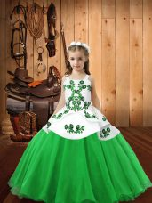 Floor Length Ball Gowns Sleeveless Green Child Pageant Dress Lace Up