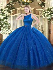 Stunning Blue Sleeveless Belt Floor Length Quinceanera Dress