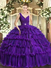 Sophisticated Sleeveless Beading and Ruffled Layers Backless 15 Quinceanera Dress