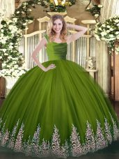 Beauteous Floor Length Ball Gowns Sleeveless Olive Green Quinceanera Gown Zipper