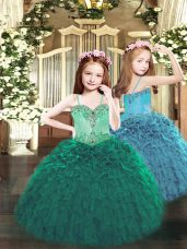 Fancy Dark Green Organza Lace Up Spaghetti Straps Sleeveless Floor Length Pageant Gowns For Girls Beading and Ruffles