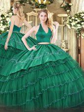 Captivating Floor Length Two Pieces Sleeveless Dark Green Vestidos de Quinceanera Zipper