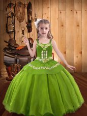 Sleeveless Organza Floor Length Lace Up Little Girls Pageant Dress in Green with Embroidery